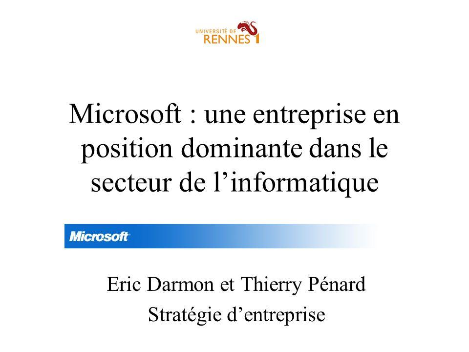 Microsoft : une entreprise en position dominante dans le secteur de linformatique Eric Darmon et Thierry Pénard Stratégie dentreprise