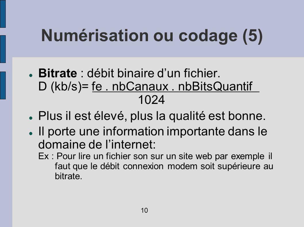 Bitrate : débit binaire dun fichier. D (kb/s)= fe. nbCanaux. nbBitsQuantif 1024 Plus il est élevé, plus la qualité est bonne. Il porte une information
