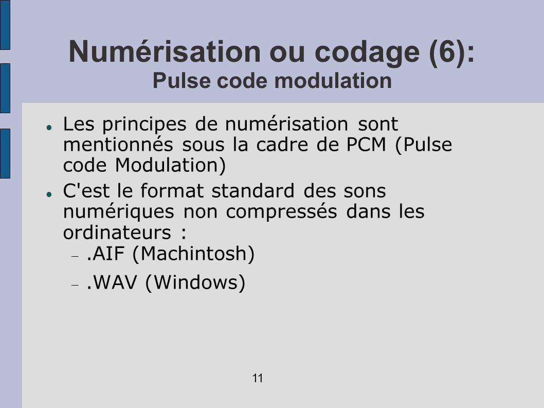 Numérisation ou codage (6): Pulse code modulation Les principes de numérisation sont mentionnés sous la cadre de PCM (Pulse code Modulation) C'est le