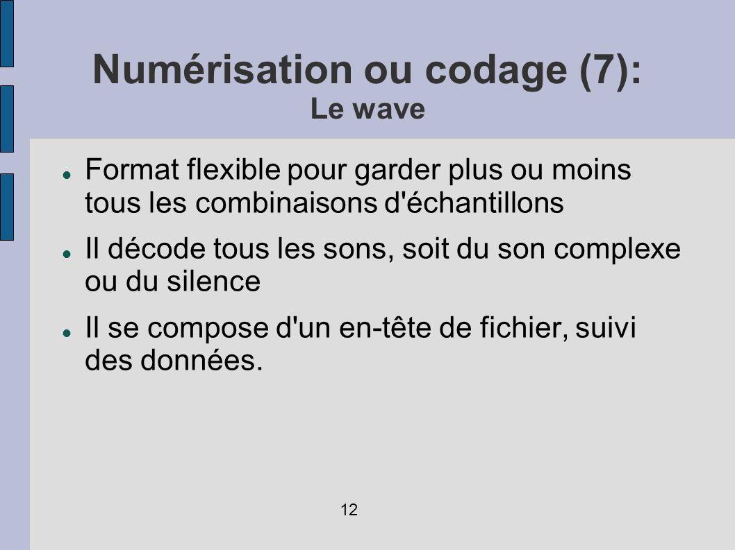Numérisation ou codage (7): Le wave Format flexible pour garder plus ou moins tous les combinaisons d'échantillons Il décode tous les sons, soit du so
