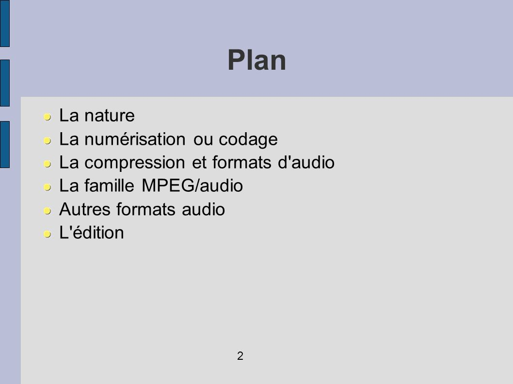 Plan La nature La numérisation ou codage La compression et formats d'audio La famille MPEG/audio Autres formats audio L'édition 2