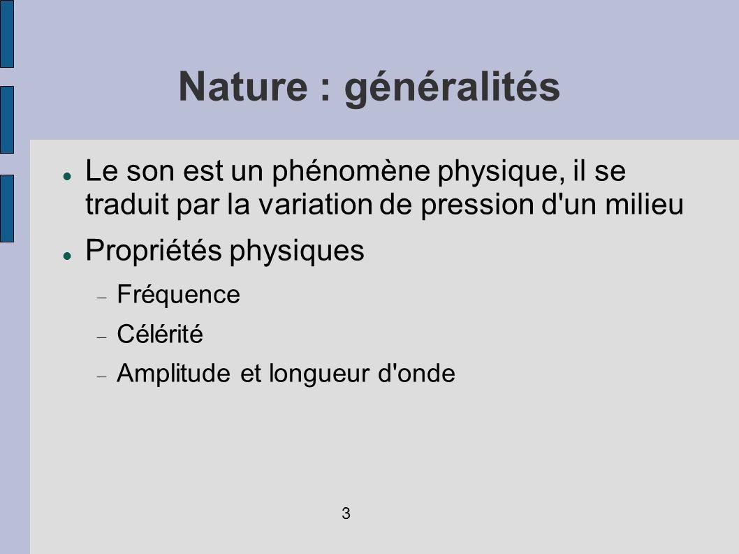 Nature : généralités Le son est un phénomène physique, il se traduit par la variation de pression d'un milieu Propriétés physiques Fréquence Célérité