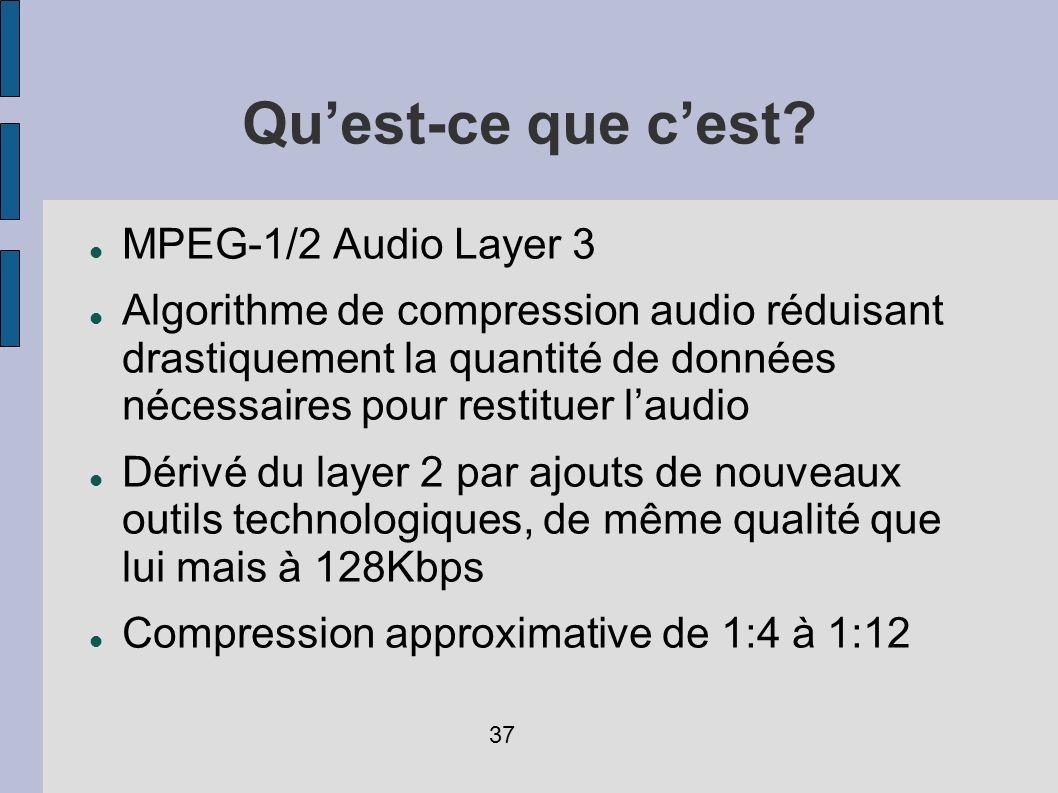 Quest-ce que cest? MPEG-1/2 Audio Layer 3 Algorithme de compression audio réduisant drastiquement la quantité de données nécessaires pour restituer la