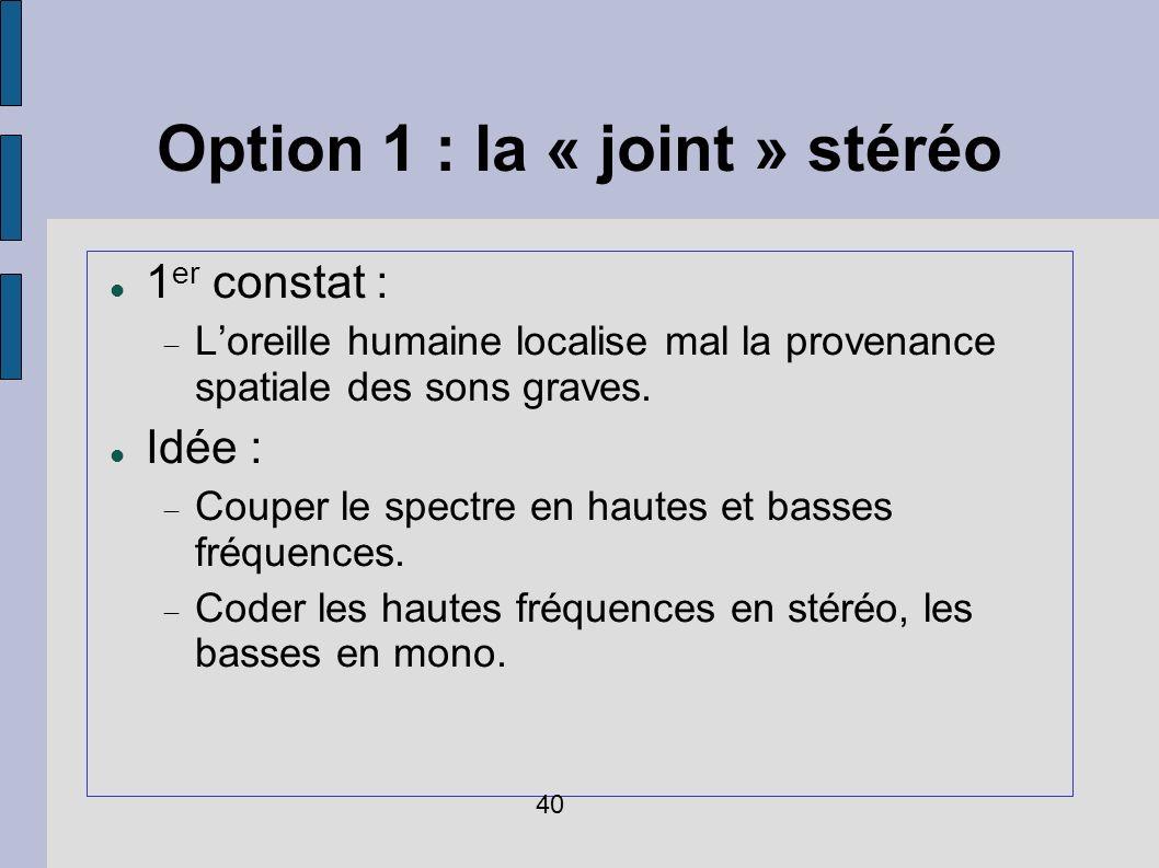 Option 1 : la « joint » stéréo 1 er constat : Loreille humaine localise mal la provenance spatiale des sons graves. Idée : Couper le spectre en hautes