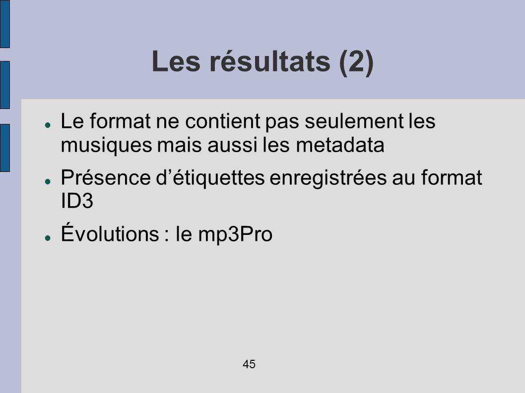 Les résultats (2) Le format ne contient pas seulement les musiques mais aussi les metadata Présence détiquettes enregistrées au format ID3 Évolutions