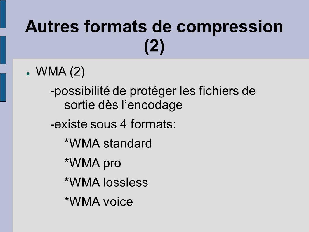 Autres formats de compression (2) WMA (2) -possibilité de protéger les fichiers de sortie dès lencodage -existe sous 4 formats: *WMA standard *WMA pro