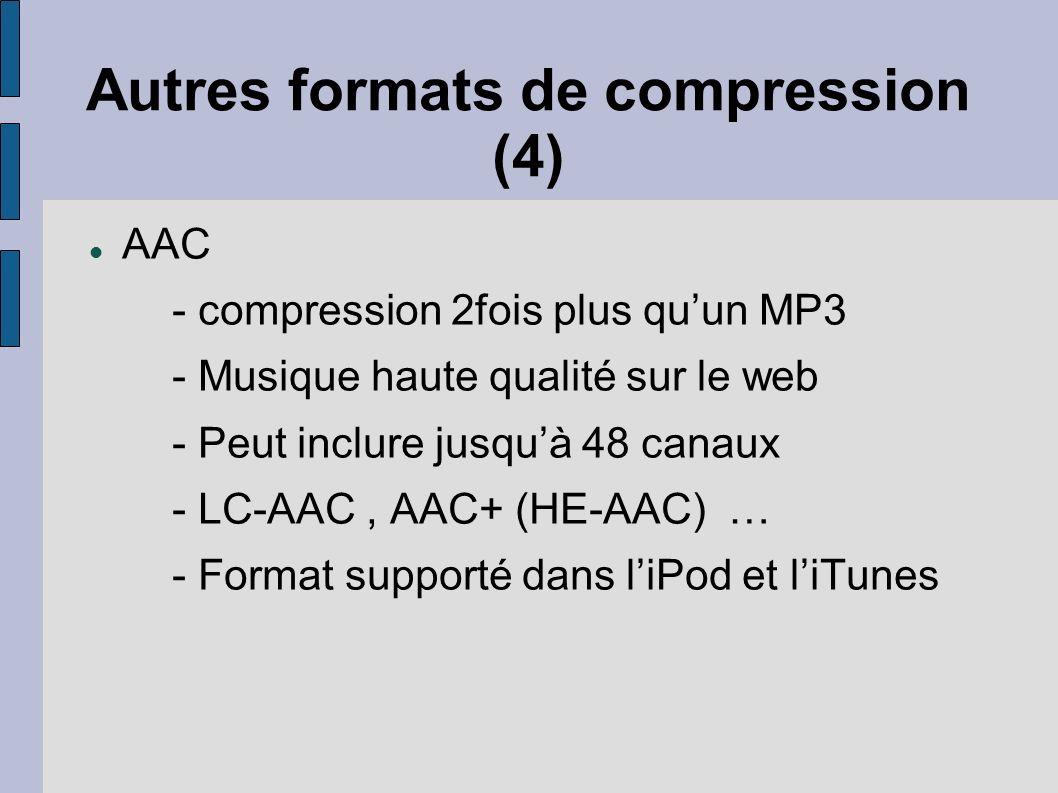 Autres formats de compression (4) AAC - compression 2fois plus quun MP3 - Musique haute qualité sur le web - Peut inclure jusquà 48 canaux - LC-AAC, A