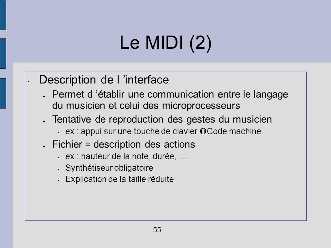 Le MIDI (2) Description de l interface – Permet d établir une communication entre le langage du musicien et celui des microprocesseurs – Tentative de