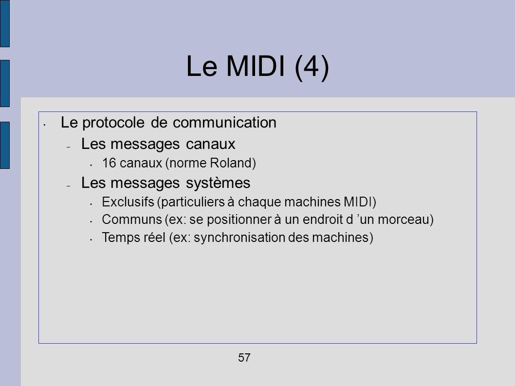 Le MIDI (4) Le protocole de communication – Les messages canaux 16 canaux (norme Roland) – Les messages systèmes Exclusifs (particuliers à chaque mach