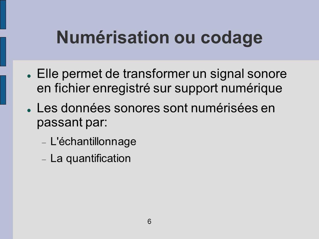 Compression (3) Fréquences audibles pour l homme, de 20Hz à 20KHz, diminution raisonnable de la bande passante L effet masque: dans un groupe de frequences voisine ou identiques, on supprime lesquels avec beaucoup amplitude Stéréo jointe: on enregistre la partie grave du spectre en monophonique.