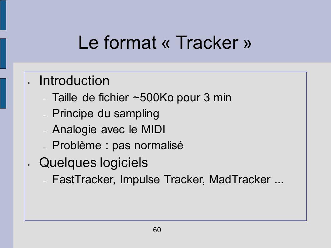 Le format « Tracker » Introduction – Taille de fichier ~500Ko pour 3 min – Principe du sampling – Analogie avec le MIDI – Problème : pas normalisé Que