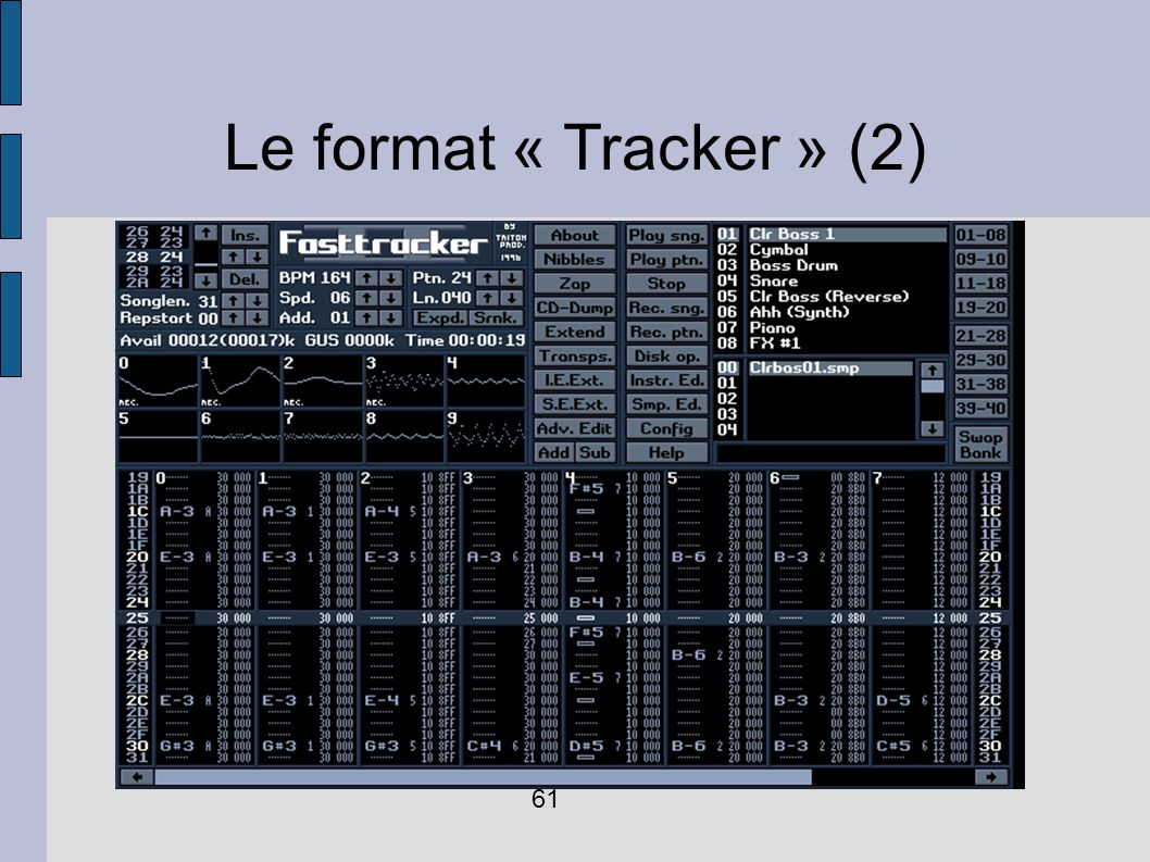 Le format « Tracker » (2) 61