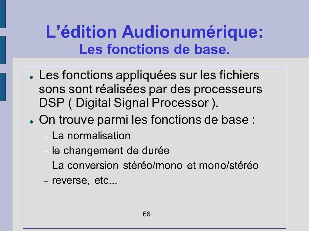 Lédition Audionumérique: Les fonctions de base. Les fonctions appliquées sur les fichiers sons sont réalisées par des processeurs DSP ( Digital Signal