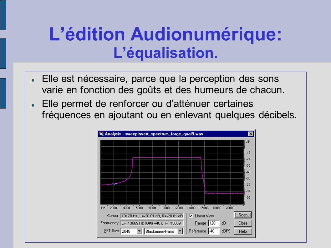 Lédition Audionumérique: Léqualisation. Elle est nécessaire, parce que la perception des sons varie en fonction des goûts et des humeurs de chacun. El