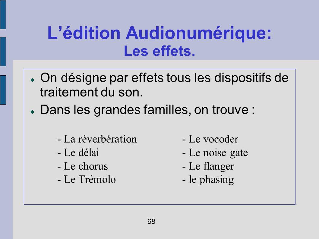 Lédition Audionumérique: Les effets. On désigne par effets tous les dispositifs de traitement du son. Dans les grandes familles, on trouve : - La réve