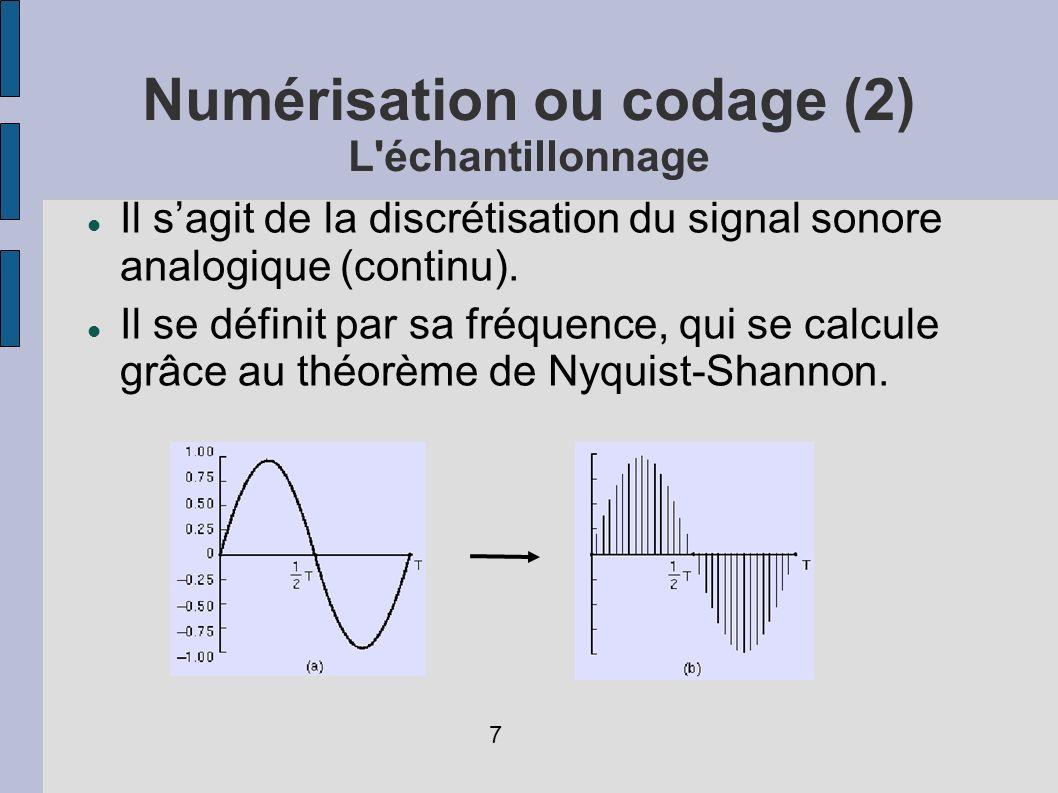 Numérisation ou codage (2) L'échantillonnage Il sagit de la discrétisation du signal sonore analogique (continu). Il se définit par sa fréquence, qui