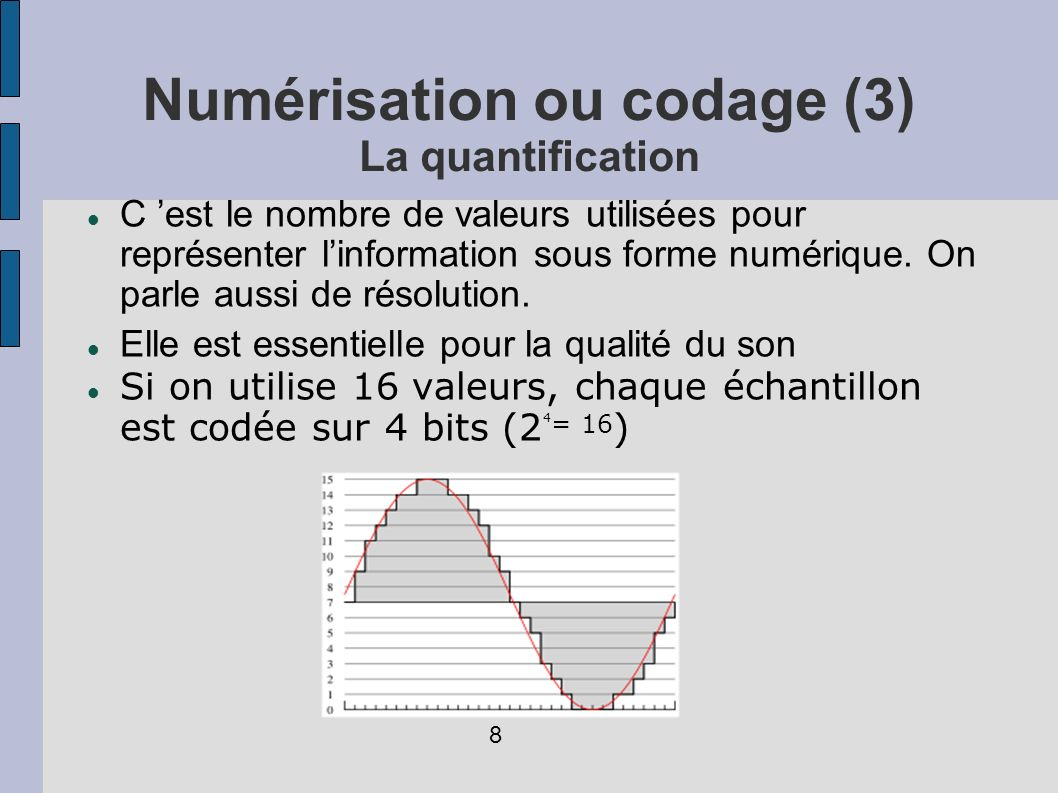 Numérisation ou codage (4): Poids d un fichier K : taille du fichier en Kilo-octets F : fréquence d échantillonnage en KHz Q : nombre d octets utilisés pour coder le signal (16 bits = 2 octets) P : nombre total de pistes mono T : temps de l enregistrement en secondes K = P * F * Q * T 9