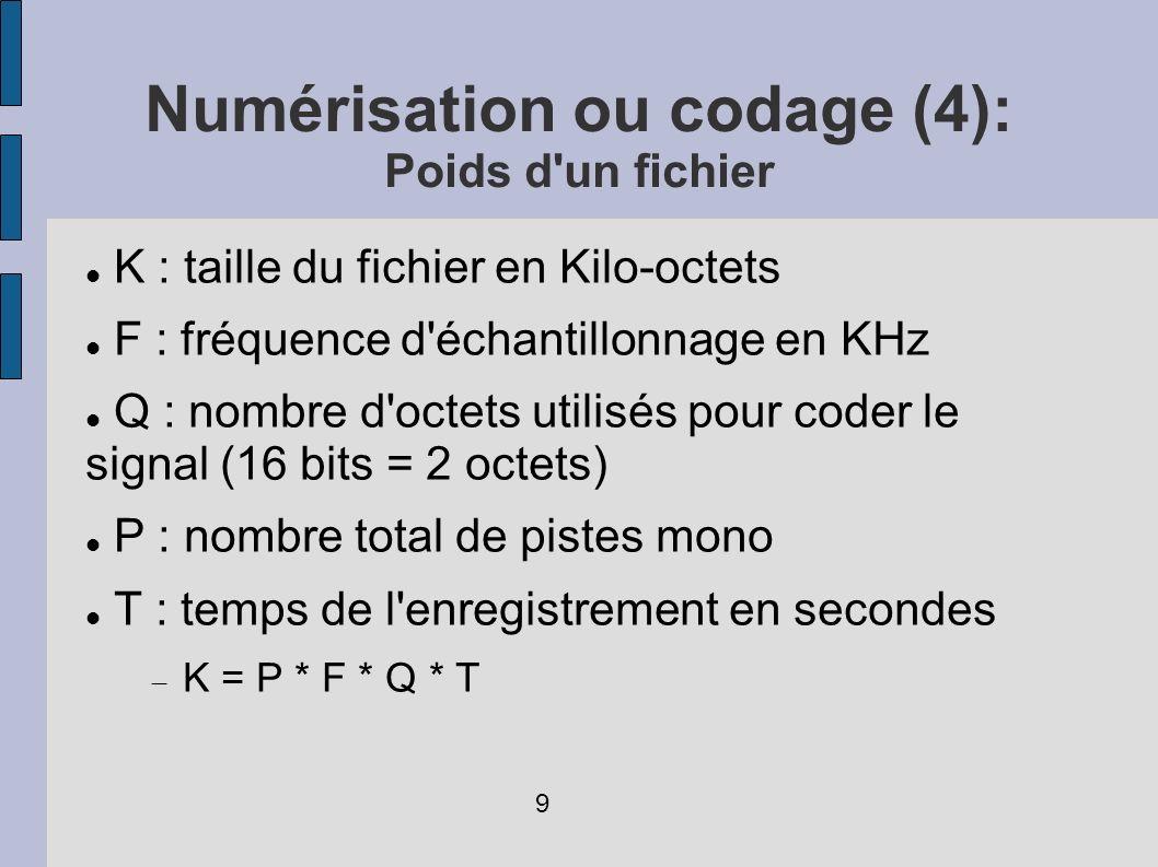 Numérisation ou codage (4): Poids d'un fichier K : taille du fichier en Kilo-octets F : fréquence d'échantillonnage en KHz Q : nombre d'octets utilisé