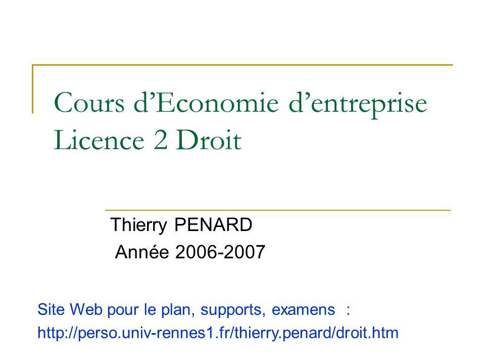 Cours dEconomie dentreprise Licence 2 Droit Thierry PENARD Année 2006-2007 Site Web pour le plan, supports, examens : http://perso.univ-rennes1.fr/thi
