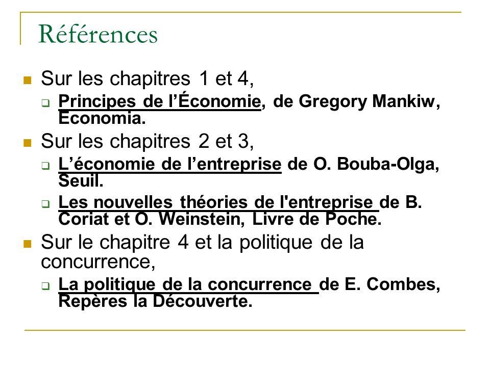 Références Sur les chapitres 1 et 4, Principes de lÉconomie, de Gregory Mankiw, Economia. Sur les chapitres 2 et 3, Léconomie de lentreprise de O. Bou
