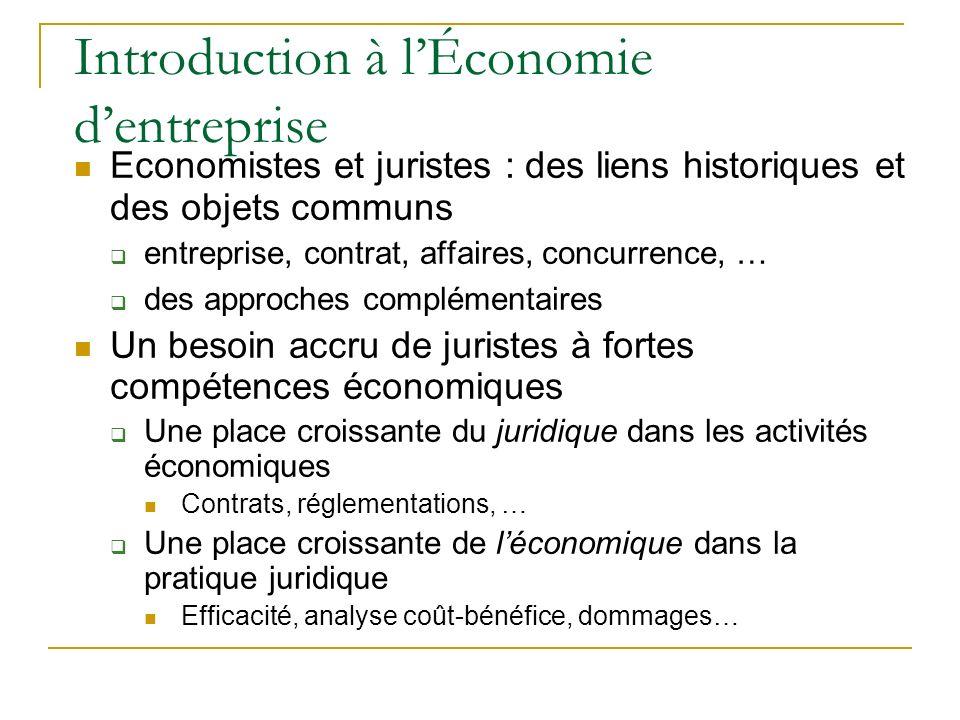 Introduction à lÉconomie dentreprise Economistes et juristes : des liens historiques et des objets communs entreprise, contrat, affaires, concurrence,