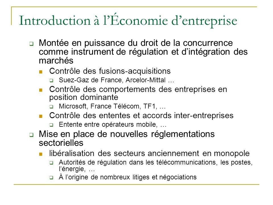 Introduction à lÉconomie dentreprise Montée en puissance du droit de la concurrence comme instrument de régulation et dintégration des marchés Contrôl