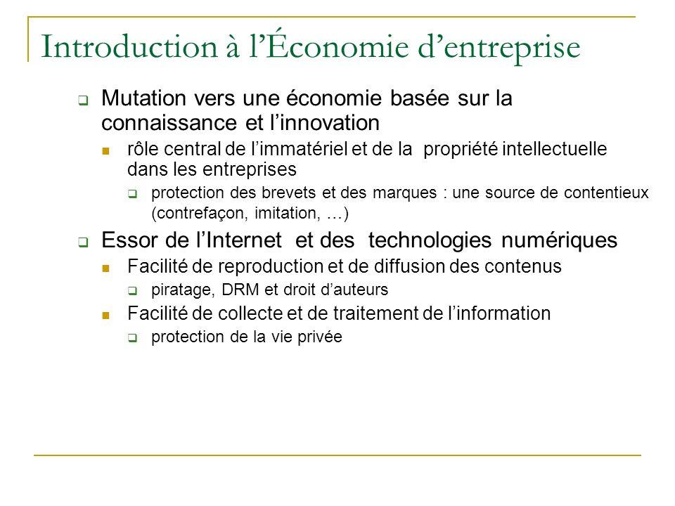 Introduction à lÉconomie dentreprise Mutation vers une économie basée sur la connaissance et linnovation rôle central de limmatériel et de la propriét