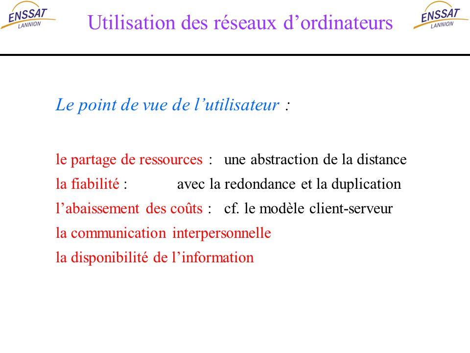Utilisation des réseaux dordinateurs Le point de vue de lutilisateur : le partage de ressources : une abstraction de la distance la fiabilité : avec l