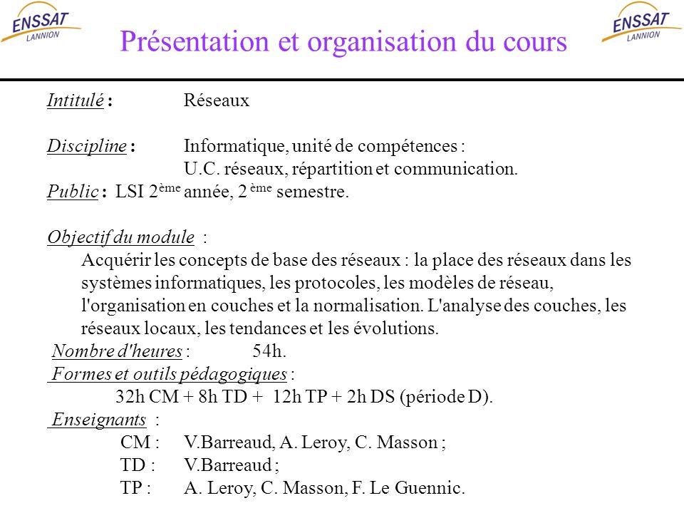 Présentation et organisation du cours Intitulé :Réseaux Discipline :Informatique, unité de compétences : U.C. réseaux, répartition et communication. P