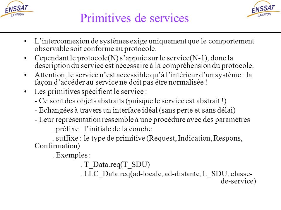 Primitives de services Linterconnexion de systèmes exige uniquement que le comportement observable soit conforme au protocole. Cependant le protocole(
