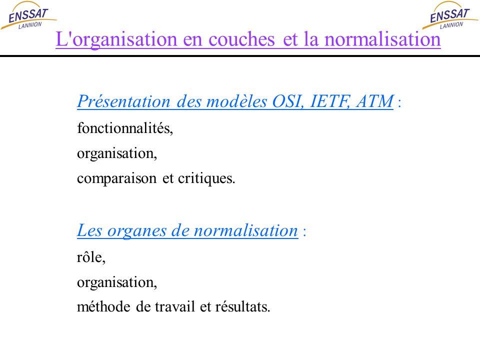 L'organisation en couches et la normalisation Présentation des modèles OSI, IETF, ATM : fonctionnalités, organisation, comparaison et critiques. Les o