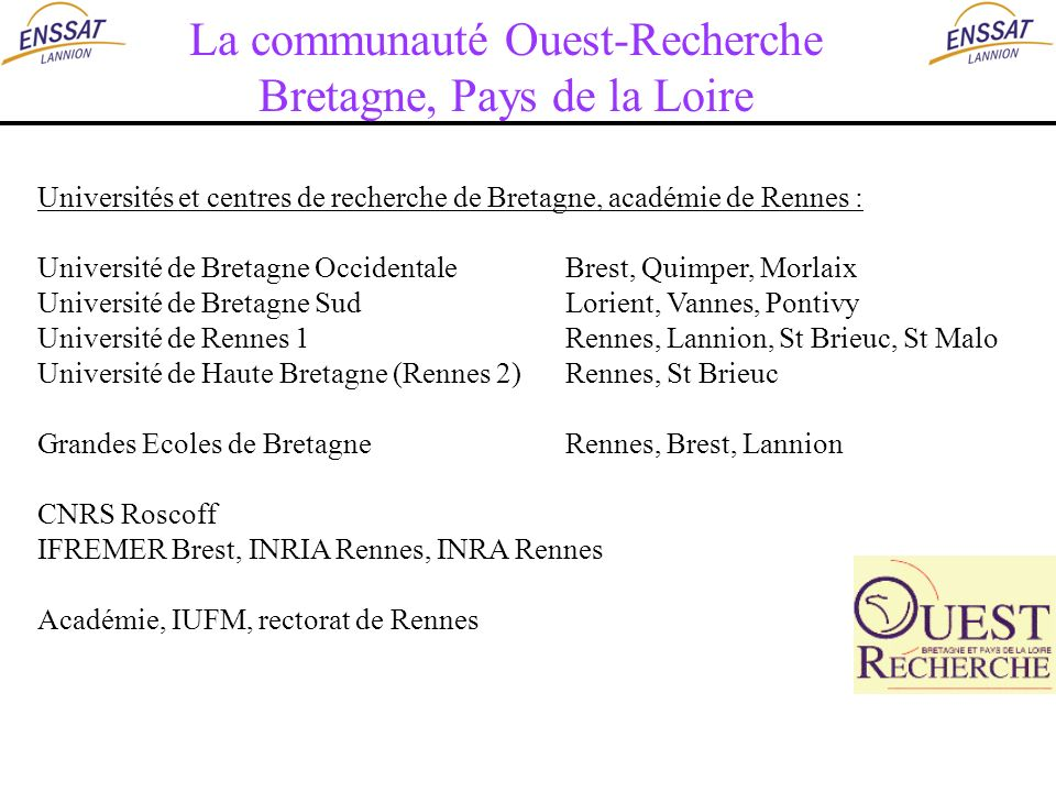 Universités et centres de recherche de Bretagne, académie de Rennes : Université de Bretagne OccidentaleBrest, Quimper, Morlaix Université de Bretagne