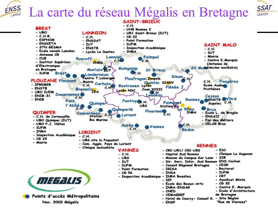 La carte du réseau Mégalis en Bretagne