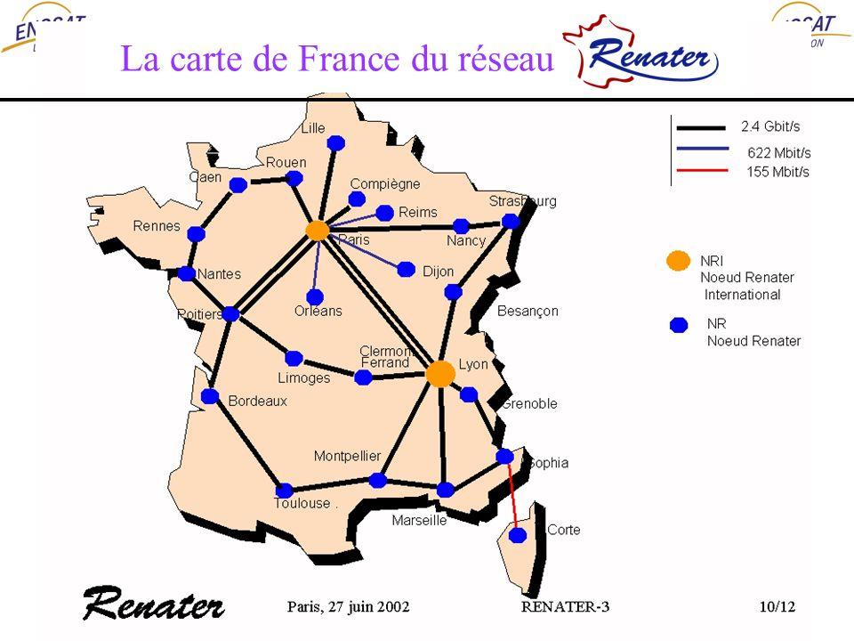 raccordements DOM-TOM : 128 Kbit/s à 2 Mbit/s La carte de France du réseau Renater 3