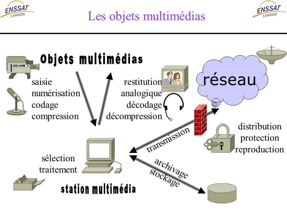 Les objets multimédias saisie numérisation codage compression restitution analogique décodage décompression archivage stockage transmission distributi