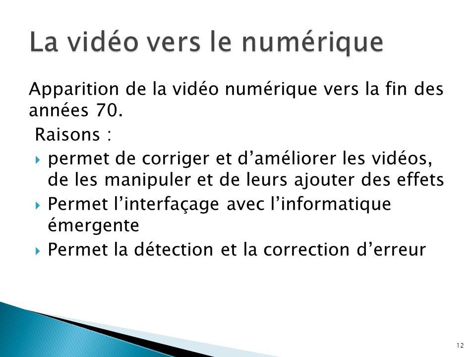 Apparition de la vidéo numérique vers la fin des années 70. Raisons : permet de corriger et daméliorer les vidéos, de les manipuler et de leurs ajoute