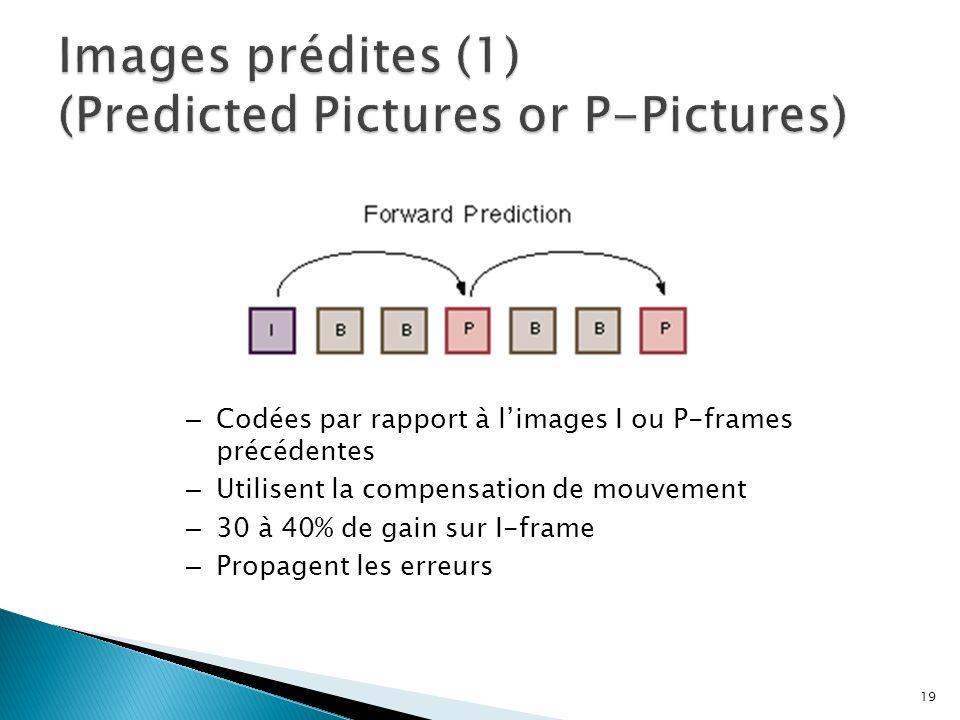 – Codées par rapport à limages I ou P-frames précédentes – Utilisent la compensation de mouvement – 30 à 40% de gain sur I-frame – Propagent les erreu