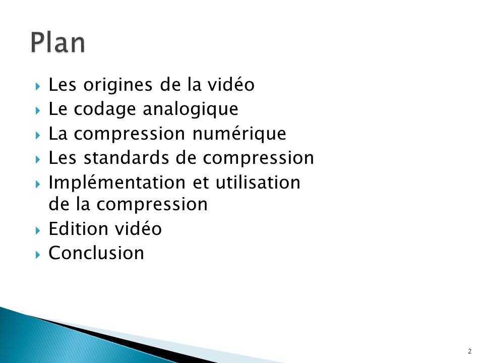 Les origines de la vidéo Le codage analogique La compression numérique Les standards de compression Implémentation et utilisation de la compression Ed