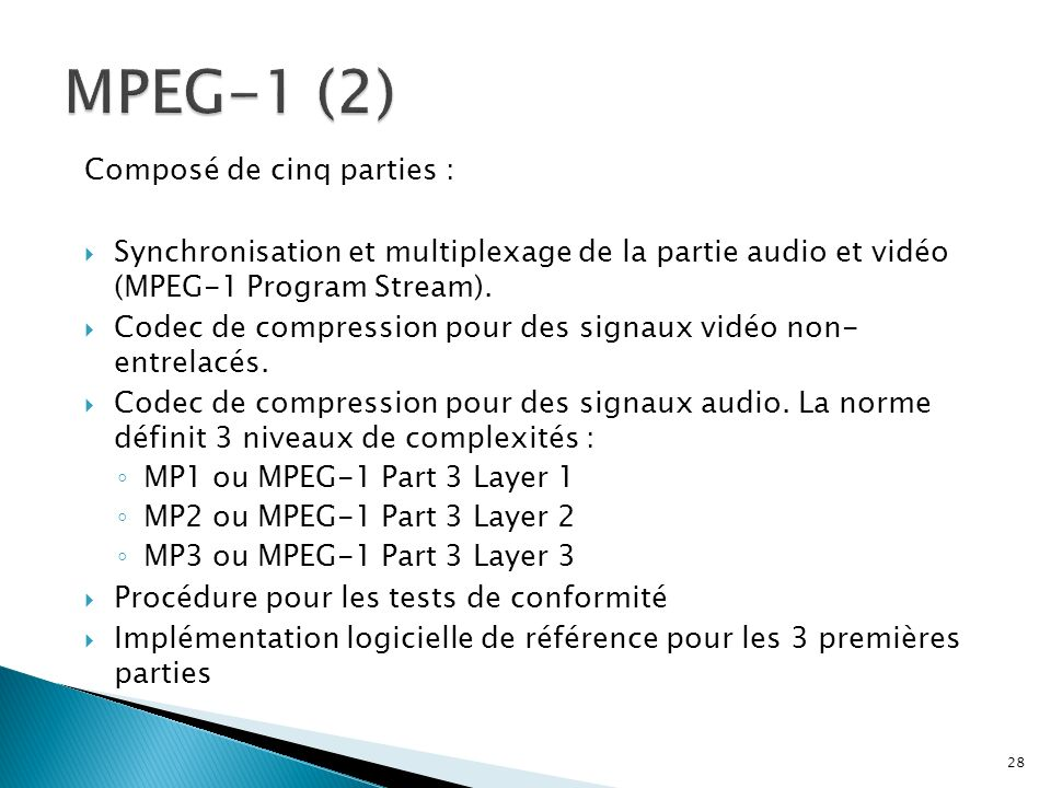 Composé de cinq parties : Synchronisation et multiplexage de la partie audio et vidéo (MPEG-1 Program Stream). Codec de compression pour des signaux v