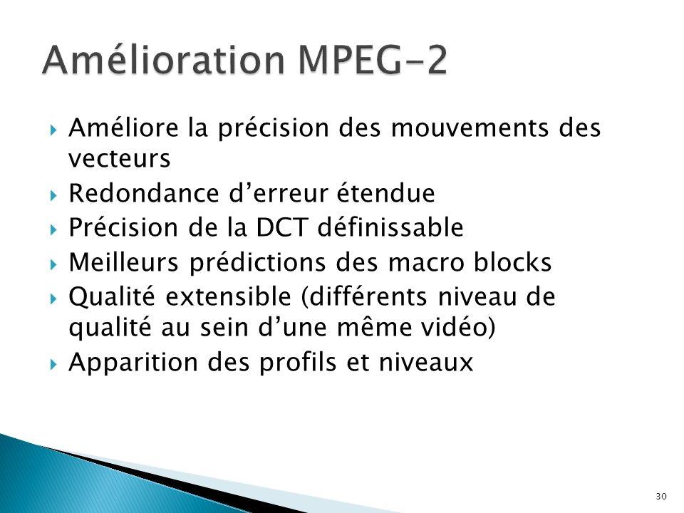 Améliore la précision des mouvements des vecteurs Redondance derreur étendue Précision de la DCT définissable Meilleurs prédictions des macro blocks Q