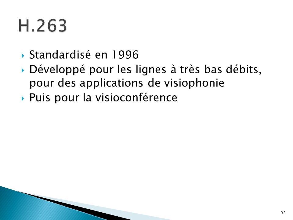 Standardisé en 1996 Développé pour les lignes à très bas débits, pour des applications de visiophonie Puis pour la visioconférence 33