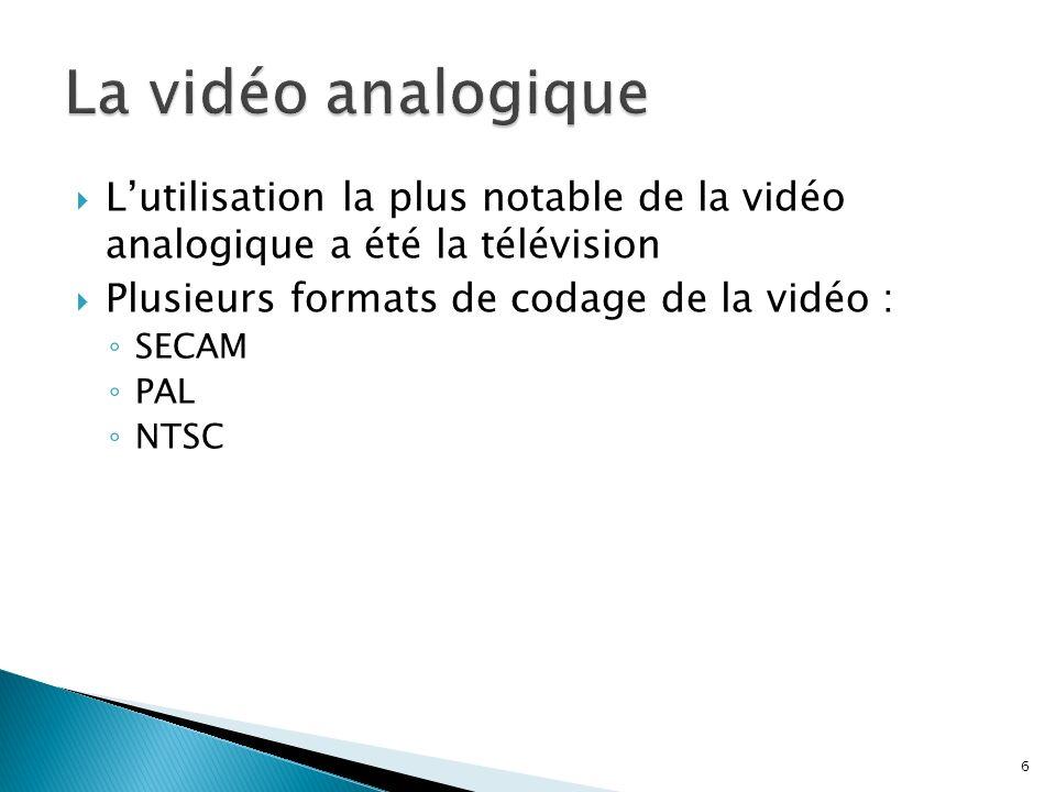 Lutilisation la plus notable de la vidéo analogique a été la télévision Plusieurs formats de codage de la vidéo : SECAM PAL NTSC 6