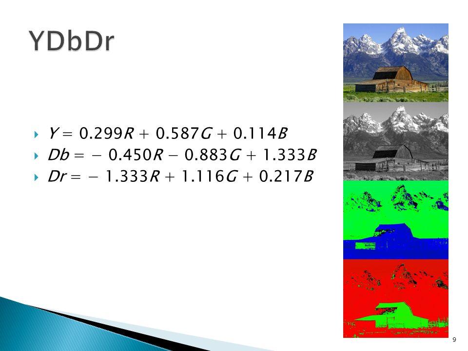 Y = 0.299R + 0.587G + 0.114B Db = 0.450R 0.883G + 1.333B Dr = 1.333R + 1.116G + 0.217B 9