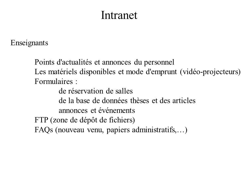 Faculté de pharmacie de Nancy http://www.univ-rouen.fr/pharmacie/facultes/france2.html http://www.pharma.uhp-nancy.fr/ http://ispb.univ-lyon1.fr/index.html http://bureau.pharmacie.unicaen.fr/ http://www-fac-pharma.u-strasbg.fr/http://www-fac-pharma.u-strasbg.fr/ (examens) http://www.u-psud.fr/chatenay/pharmacie.nsfhttp://www.u-psud.fr/chatenay/pharmacie.nsf (événements,QCM) Base des thèses d ISIS (groupe de recherche) http://www-isis.enst.fr/Kiosque/ Calendrier enseignant ou de réservation http://perso.univ-rennes1.fr/eric.hitti/Pharmacie/Reservation/salle_info/formulaire.html http://perso.univ-rennes1.fr/didier.francois/reservation-salles/reservation.htm Sites de références