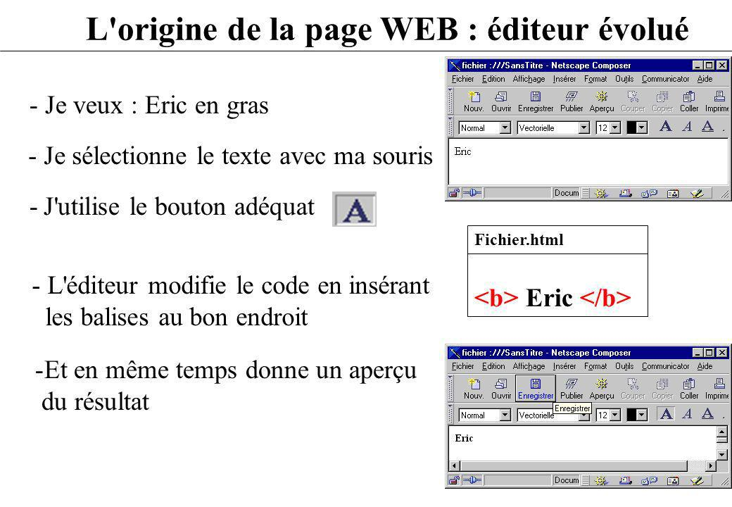 L'origine de la page WEB : éditeur évolué - Je veux : Eric en gras - L'éditeur modifie le code en insérant les balises au bon endroit - Je sélectionne