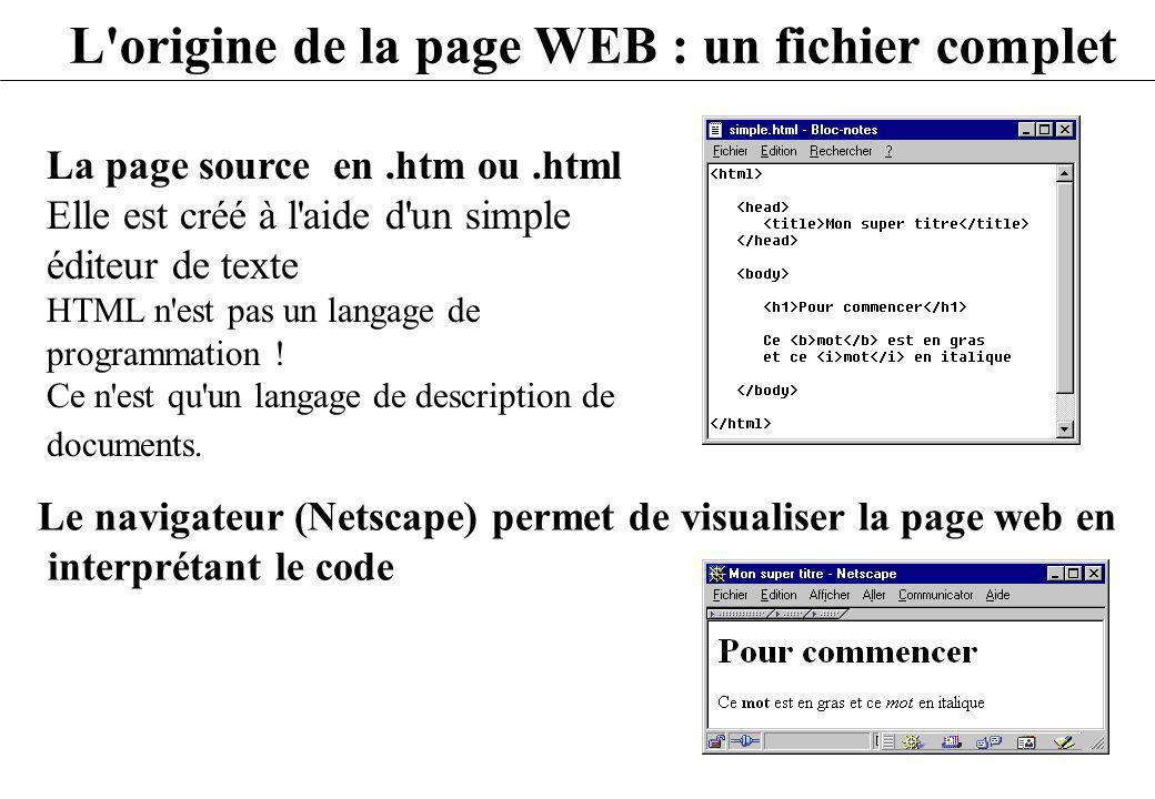 L'origine de la page WEB : un fichier complet La page source en.htm ou.html Elle est créé à l'aide d'un simple éditeur de texte HTML n'est pas un lang
