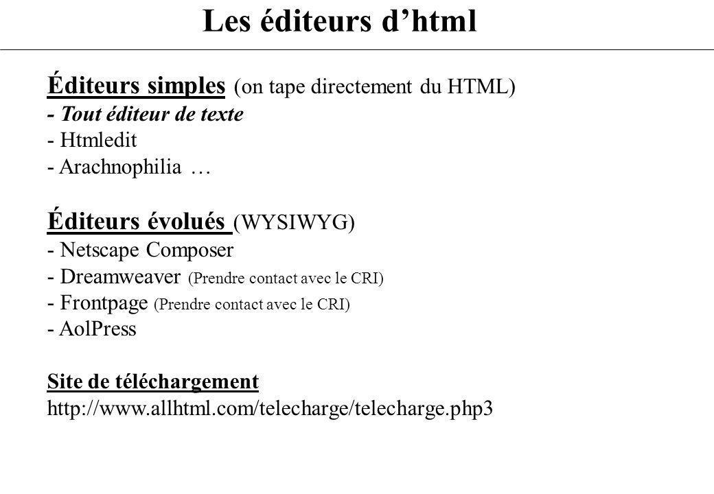 Les éditeurs dhtml Éditeurs simples (on tape directement du HTML) - Tout éditeur de texte - Htmledit - Arachnophilia … Éditeurs évolués (WYSIWYG) - Ne