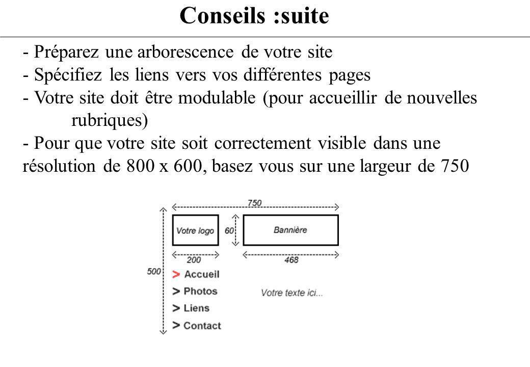 - Préparez une arborescence de votre site - Spécifiez les liens vers vos différentes pages - Votre site doit être modulable (pour accueillir de nouvel