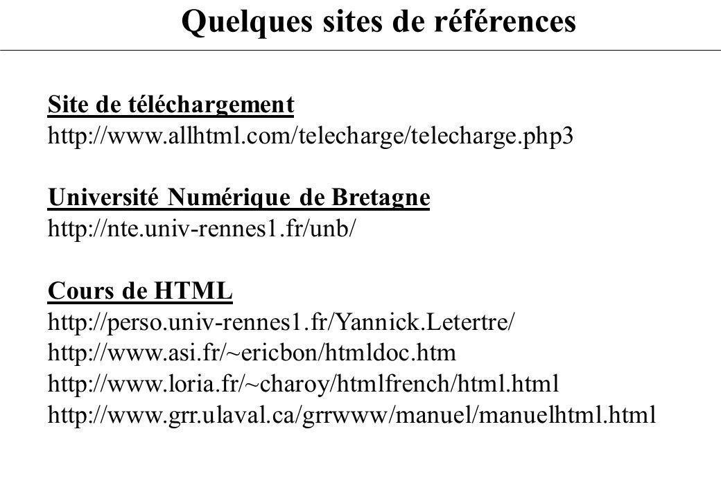 Quelques sites de références Site de téléchargement http://www.allhtml.com/telecharge/telecharge.php3 Université Numérique de Bretagne http://nte.univ