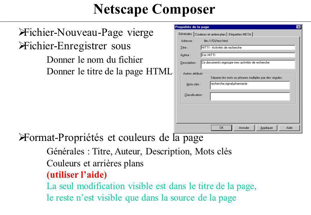 Netscape Composer Fichier-Nouveau-Page vierge Fichier-Enregistrer sous Donner le nom du fichier Donner le titre de la page HTML Format-Propriétés et c